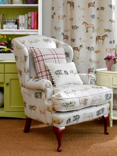 Ok the pig print is ridiculous, but i like the idea of classic chair with some sort of outlandish fabric..