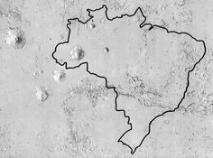 Comparison of Valles Marineris, the Tharsis Bulge, and Olympus Mons with Brazil. Prepared for NASA by Stephen Paul Meszaros. Mars Planet, Photo L, Olympus, Brazil, Planets, Australia, Nasa, Big, Outdoor