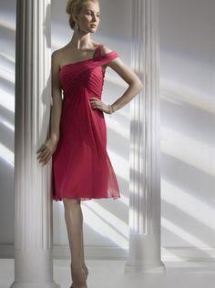 A-line One-shoulder Fuchsia Chiffon Short Prom Dress/ Bridesmaid Dress Liz Fields 652