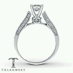 Side view: 1 1/4 carat, Princess cut, 14K white gold diamond engagement ring (Tolkowsky)