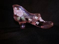Limited Edition Fenton Pink Glass Shoe Hand Painted M Nutter Slipper Flower 9591