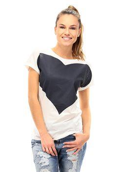TWIN-SET SIMONA BARBIERI - T-Shirts - Abbigliamento - T-Shirt in cotone  elasticizzato con stampa a cuore sul davanti. - OTTICO\BLU - € 76.00