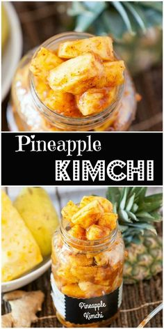 Kimchi flavored Pineapple (Healthy, Gluten Free) - Food Done Light A fun play on kimchi, Kimchi flavored Pineapple chunks. Eat it on it's own. Add to wraps or salsa. Add to soup or salads. Probiotic Foods, Best Probiotic, Fermented Foods, Fermentation Recipes, Canning Recipes, Gluten Free Recipes, Vegetarian Recipes, Healthy Recipes, Healthy Nutrition