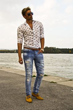 Tom Ford Sunglasses, Zara Button Up Shirt, Gucci Loafers