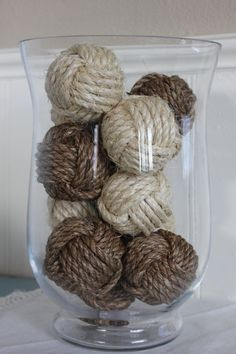 Nautical rustic rope balls - beach house decor - monkey fist knots - set of 10 small knots