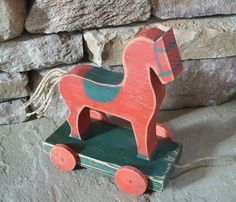 Grungy Red Wooden Horse  Pull Toy  Mother's by TheTreeFolkHollow, $50.00