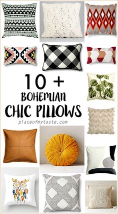 10+ BOHO CHIC PILLOWS. Fun home decor inspiration.