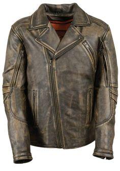 Milwaukee Mens Vented Dunloop Leather Motorcycle Jacket