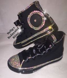 537ad4fd2cb2 WOMEN S Black Diamond Inspired Bedazzle Bling Converse All Star Chuck  Taylor Sneakers. Black High Top ...