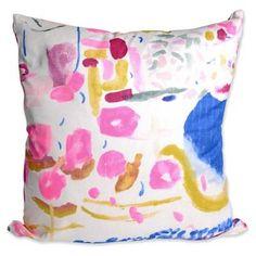 Perfect for: A pastel sofa in need of flair. Neon Watercolor pillow, $55; furbishstudio.com   - ELLEDecor.com