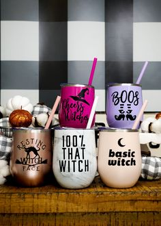 You'll love our funny Halloween tumblers! From Cheers Witches to That Witch, our fall tumblers are perfect for Witches … Halloween Baskets, Halloween Cups, Halloween Crafts For Toddlers, Theme Halloween, Halloween Drinks, Halloween Cookies, Toddler Crafts, Halloween Treats, Fall Halloween