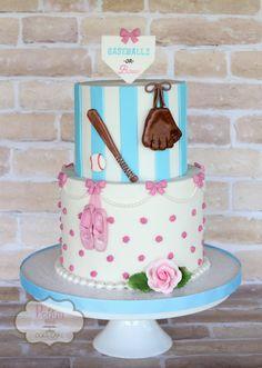 "Peggy Does Cake, Brandon, Mississippi ~ ""baseballs or bows"" gender reveal cake ~ Baby shower cake Gender Reveal Food, Baseball Gender Reveal, Baby Gender Reveal Party, Gender Party, Fall Gender Reveal, Baby Shower Niño, Baby Shower Cakes, Baby Shower Themes, Shower Ideas"