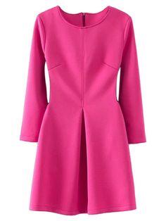 Hot Pink Long Sleeve High Waist Skater Dress