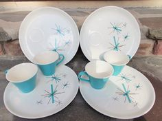 Salem Hopscotch Mid Century Tea Coffee Cups with Luncheon Plates Set of 4 Aqua Blue Atomic North Star Madmen Decor US Shipping Included by TremendousTreasures on Etsy