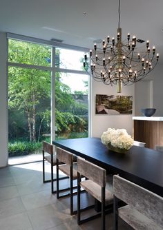 2097 Chandelier - Large $3200 Brass  contemporary-dining-chairs-Dining-Room-Modern-with-2097-chandelier-birch-tree.jpg (698×990)