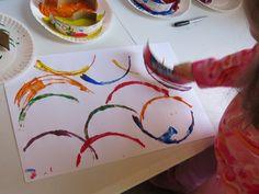 Simple but beautiful abstract rainbow paintings by Teach Preschool