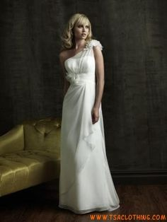 eenvoudige A-lijn chiffon jurk een schouder