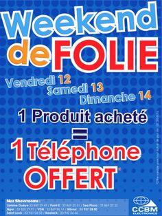 newsletter CCBM Electronics promotion week-end 13 &14 octobre 2012 1 produit électroménager acheté = 1 téléphone offert
