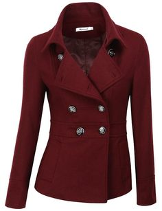 Doublju Double Breasted Pea Coat Jacket BURGUNDY (US-S), Burgundy, Large