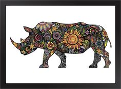 Cheerful Rhino Art Print by theminifab on Etsy