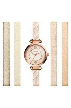 Fossil 'Georgia' Round Watch & Interchangeable Strap Set, 25mm available at #Nordstrom