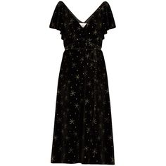Valentino Glitter-star embellished velvet dress ($7,900) ❤ liked on Polyvore featuring dresses, valentino, v neck midi dress, velvet dress, glitter dress, midi cocktail dress and petite cocktail dress