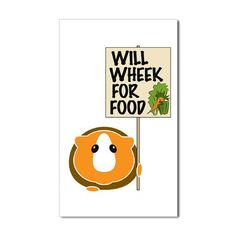 Will WHEEK for food! guinea pig bumper sticker decal