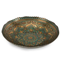 IMAX Ravenna Glass Bowl - 83119. IMAX Ravenna Glass Bowl - 83119 Elegant motif and mosaic pattern are reverse painted in peacock blue and gold on the Ravenna glass bowl. Food safe. Product Specifications Dimensions 17 D x 3.5 H (inches) Item weight 4.74 l.. . See More Bowls at http://www.ourgreatshop.com/Bowls-C740.aspx