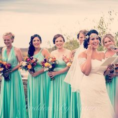 Gorgeous bride Carly and her bridal party in their Goddess By Nature signature ballgowns in the stunning & popular mint green colour heart emoticon stockist Adelaide Brides and Bloom www.goddessbynature.com