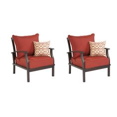 Shop allen + roth Set of 2 Gatewood Cast Aluminum Patio Chairs with Solid Red Cushion at Lowes.com