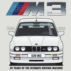 BMW E30 M3 30th Anniversary (Alpine White) Black Text