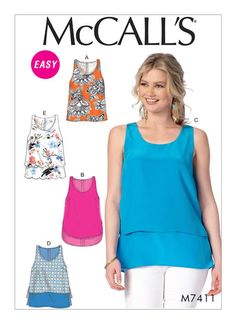 Sewing Patterns Mccall's Sewing Pattern Misses' Scoopneck Tank Tops Overlay Options Xs-Xxl & Garden Dress Making Patterns, Easy Sewing Patterns, Mccalls Sewing Patterns, Clothing Patterns, Make Your Own Clothes, Top Pattern, Sewing Clothes, Dress Sewing, Athletic Tank Tops