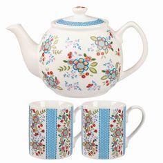 Sada čajové konvice a 2 hrnků Caravan Hippie Floral | Bonami