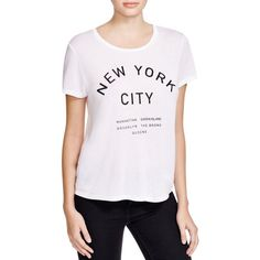Project Social T New York Graphic Tee ($27) ❤ liked on Polyvore featuring tops, t-shirts, white, graphic tops, graphic tees, white graphic t shirts, project social t and graphic print tees