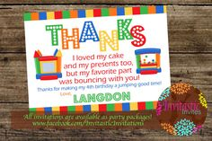 Bounce House Party Thank You Card  Jump House by InvitasticInvites