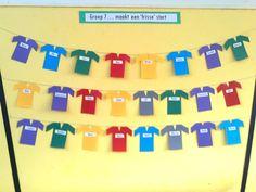 Groep 7 maakt een frisse start. Op de shirt staan de namen van de leerlingen. Deze hangen aan een 'waslijn' op het prikbord. Om het geheel af te maken kunnen de shirts ook met kleine knijpertjes, die in de periode van de kerst verkrijgbaar zijn voor de kerstkaarten op te hangen, bevestigd worden.