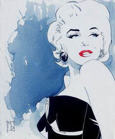 "Saatchi Online Artist: Michelle Delecki; Acrylic 2013 Painting ""Marilyn: Cold Shoulder"""