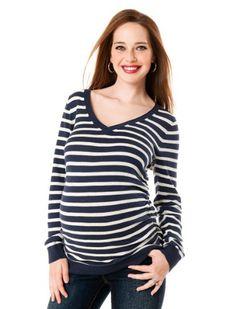 Motherhood Maternity: Long Sleeve Side Ruched Maternity Sweater