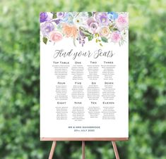 Make an statement at your reception venue with the pretty pastel flowers on this beautiful floral seating plan; Pastel Flowers, Pastel Floral, Seating Plan Wedding, Table Names, Wedding Breakfast, Pretty Pastel, Personalized Wedding, Floral Watercolor, Floral Wedding
