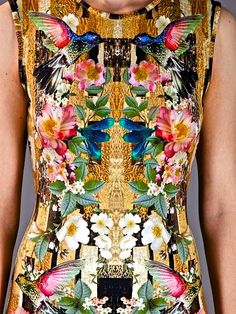 (RL: this could be adapted as a floral appliqué over gold fabric.) Alexander Mcqueen Dragonfly Print Shift Dress in Multicolor