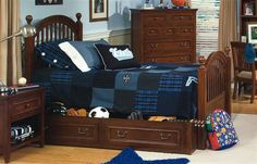 American Spirit Brown Cherry Wood Twin Low Post Trundle Storage Bed