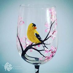 Seasonal Wine Glass Set Hand Painted Birds by LKCustomCreations