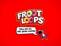 Honestidad publicitaria de las grandes marcas . - Froot Loops :  todos son del mismo sabor  -