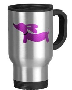 Double-walled commuter mug. Comfortable handle grip with thumb rest so you can drink coffee with one hand while petting your dachshund with the other.