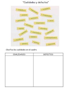 Les quichotteries de Delphine: Cualidades y Defectos Spanish Lessons, Bobby Pins, Hair Accessories, Bullet Journal, Writing, Reading, Equivalent Fractions, Spanish Classroom, Activities