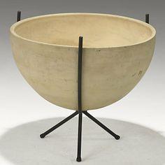 John Follis; Enameled Iron and Bisque Stoneware Planter for Architectural Pottery, c1950.