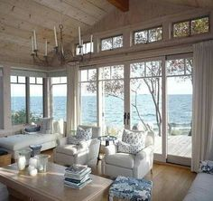 Decor Home Living Room, Home And Living, Home Decor, Beach House Decor, Beach Cottage Style, Lake Cottage, My New Room, Great Rooms, Family Room