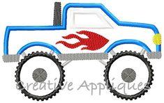Monster Truck Applique Digital Machine Embroidery Design 4 Sizes