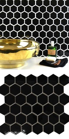 Choose from our mix of stylish hexagon tiles and hexagonal mosaics! perfect for a bathroom or kitchen. Hexagon Tiles, Mosaic Tiles, Wall Tiles, Mosaics, Black Tiles, Underfloor Heating, Black Kitchens, Bathroom Wall, Floors