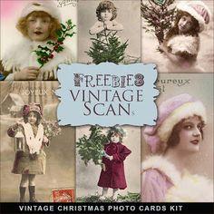 Freebies Vintage Christmas Photo Cards